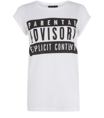 White Parental Advisory T-Shirt