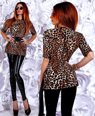 blouse zefinka top outfit outfit idea fall outfits leopard print