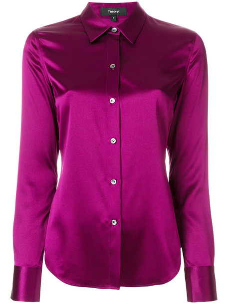 theory shirt women spandex silk purple pink satin top