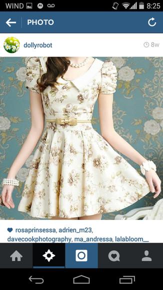 floral dress white dress cute dress peter pan collar dress peter pan collar bow dress bow belt dolly dress