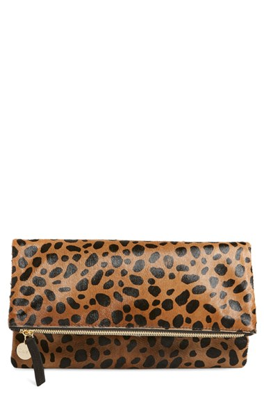 discount sale stable quality lowest discount Clare V. Genuine Calf Hair Leopard Print Foldover Clutch | Nordstrom