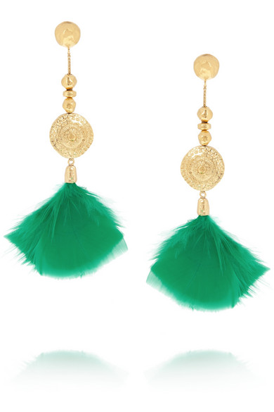 Aurélie Bidermann | Cities D'or gold-plated feather clip earrings | NET-A-PORTER.COM