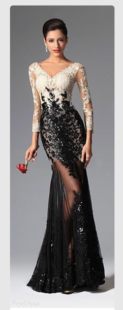 dress sequin tulle lace sleeves evening dress