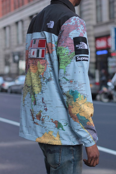 supreme jacket north face map