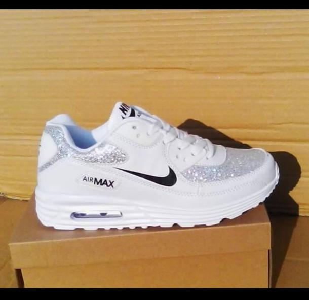 shoes nike air max white glitter silver nike shoes running shoes 907124210e