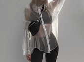 blouse,white blouse,white,long sleeves,transparent,transparent shirt,long