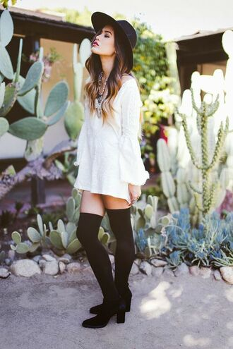 hat black hat white long sleeve romper blogger black knee socks strappy black heels