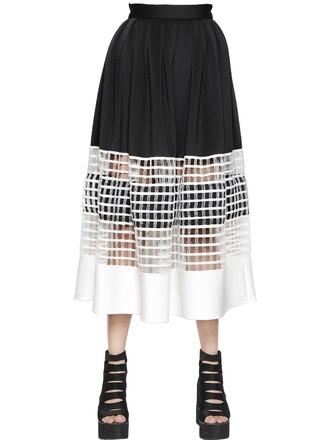skirt net cotton neoprene white black