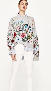 sweater,floral ebroidered sweaterr,zara grey floral sweaterr,grey sweater,pants,embroidered,floral,zara,knitted sweater