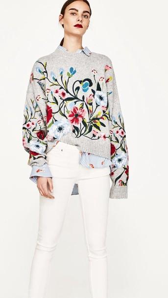 sweater floral ebroidered sweaterr zara grey floral sweaterr grey sweater pants embroidered floral zara knitted sweater