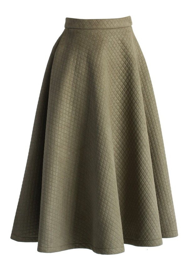 chicwish quilted skirt midi olive skirt