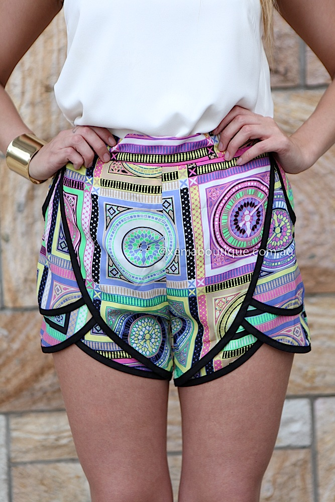 KALEIDOSCOPE SHORTS , DRESSES, TOPS, BOTTOMS, JACKETS & JUMPERS, ACCESSORIES, 50% OFF SALE, PRE ORDER, NEW ARRIVALS, PLAYSUIT, COLOUR, GIFT VOUCHER,,SHORTS,Print,Purple,Black Australia, Queensland, Brisbane