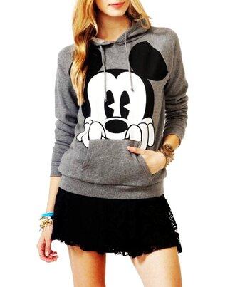 sweater mickey mouse gray hoodie jacket black sweatshirt