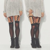 tights,suspenders,grunge,sweater,knee high socks,style,hippie,winter sweater,socks,stockings,underwear,black