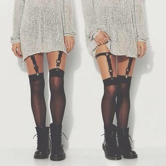 tights suspenders grunge sweater knee high socks style hippie winter sweater socks stockings underwear black