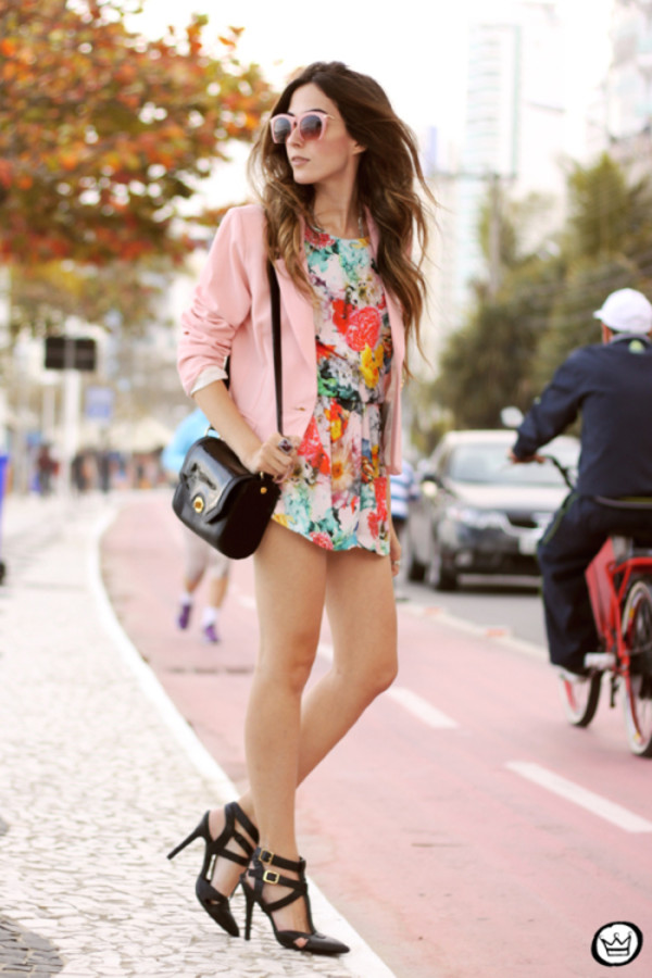 fashion coolture blogger jacket bag sunglasses romper shoes