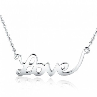 jewels love necklace silver necklace letter necklace