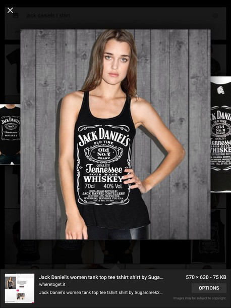 shirt black jack daniels tank top
