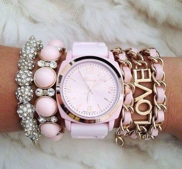jewels watch pastel pink