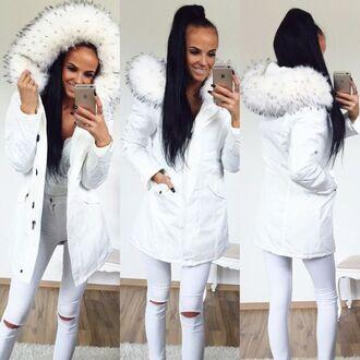 jacket parka white fur white fur coat