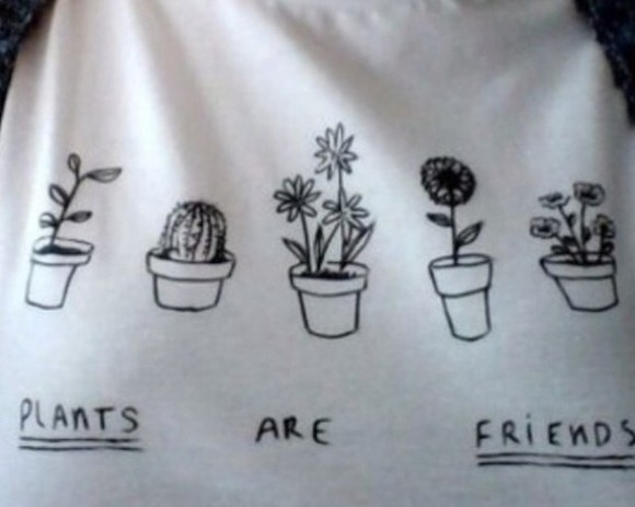 friends t-shirt plants are embroidery