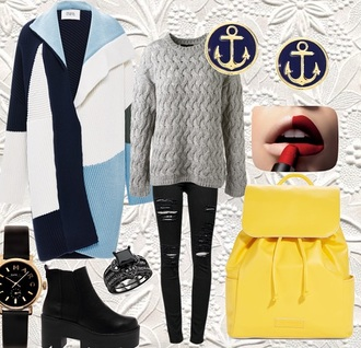 cardigan color/pattern colorblock modern fashion bloggers trending fashion shoes jeans sweater bag