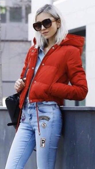 jacket red red jacket daunen bomber jacket puffer jacket