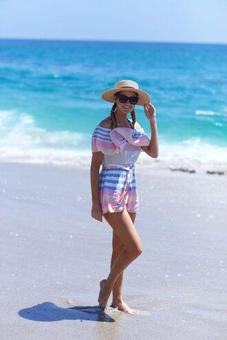 ivory lane blogger romper swimwear hat sunglasses dress shoes
