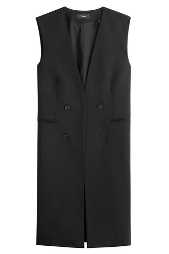 vest open wool black jacket