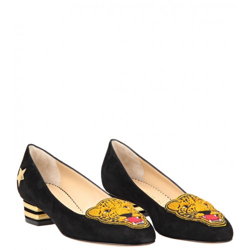 Charlotte olympia black suede & metallic calfskin 'mascot' varsity shoes