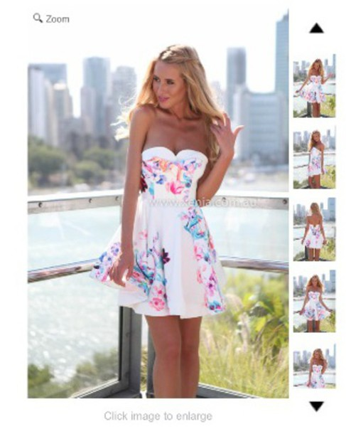 white floral strapless dress