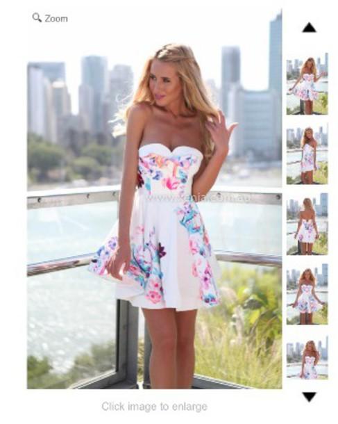 dress white strapless dress floral dress skater dress colorful summer bright pretty