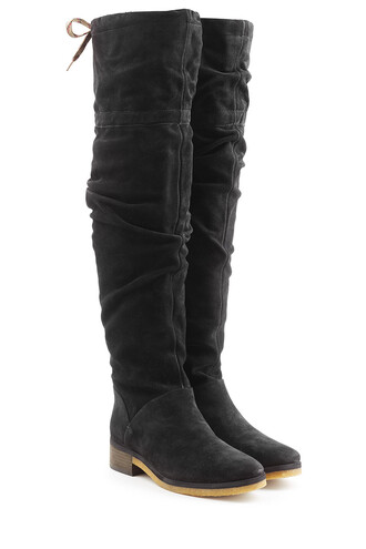 over knee boots boots suede black shoes