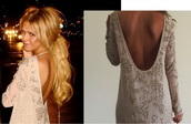 dress,sparkly dress,low back,sequin dress,embelished dress,clothes,fashion,amazing,beige dress,low back dress,long sleeve dress,bag