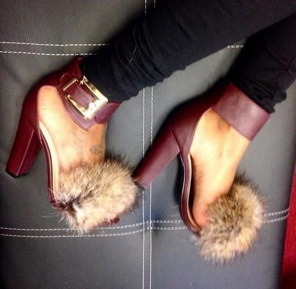 open toes heels strappy heels fur heels faux fur fall burgundy