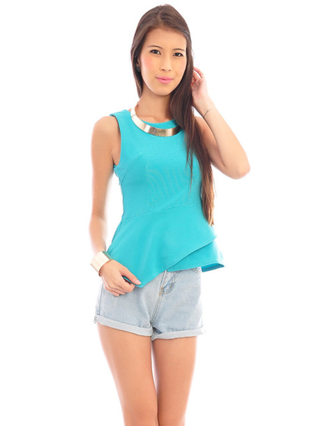 blouse peplum asymetrical tank top turquoise clothes high waisted short shorts
