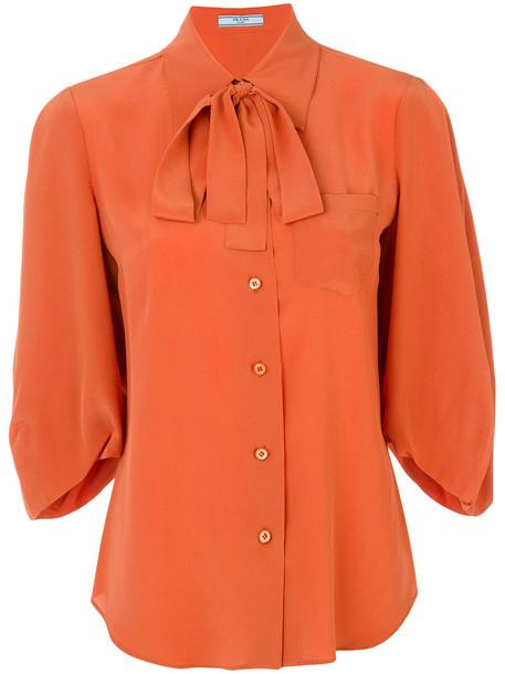 Prada shirt bow women silk yellow orange top