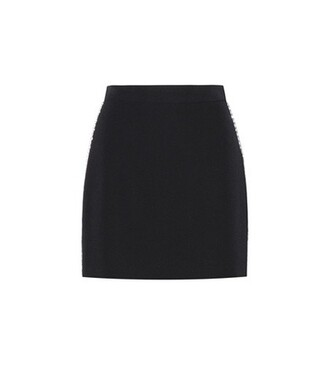 skirt embellished wool black