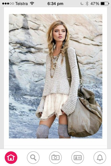 lace loose oversized leg warmers knee high socks fall outfits off-white knitwear