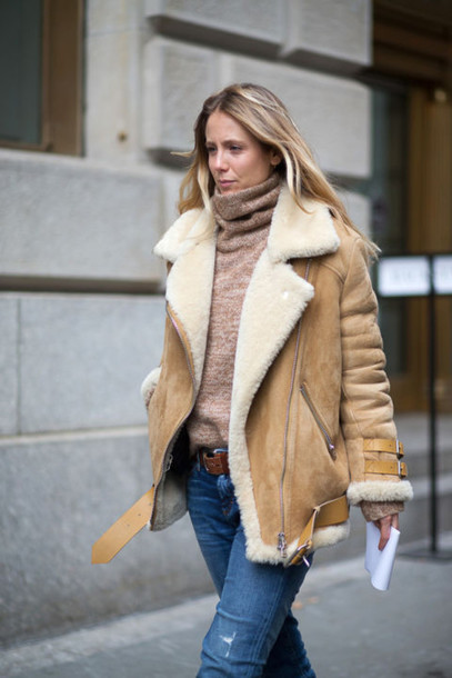 Coat: camel shearling coat, shearling, camel, camel coat, sweater ...