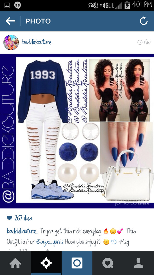 outfit outfit idea baddiekouture_ jeans bag jewels nail polish instagram cropped hoodie cropped sweater white ripped jeans air jordan white bag earrings