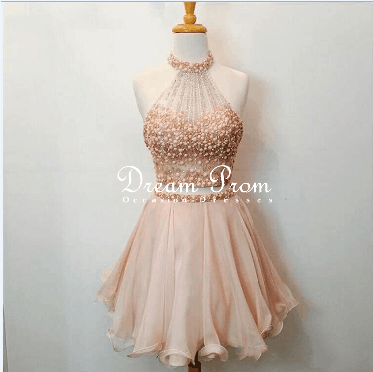 Cute 2 pieces champagne pink beaded short prom dress for Formal short dresses for weddings