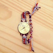 jewels,cute,watch,braided,color/pattern,colorful,gold,string,blue,orange,natural,funny,love,friends,gogolush