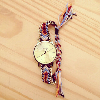 jewels cute braided color/pattern colorful gold string blue orange natural funny love friends watch gogolush
