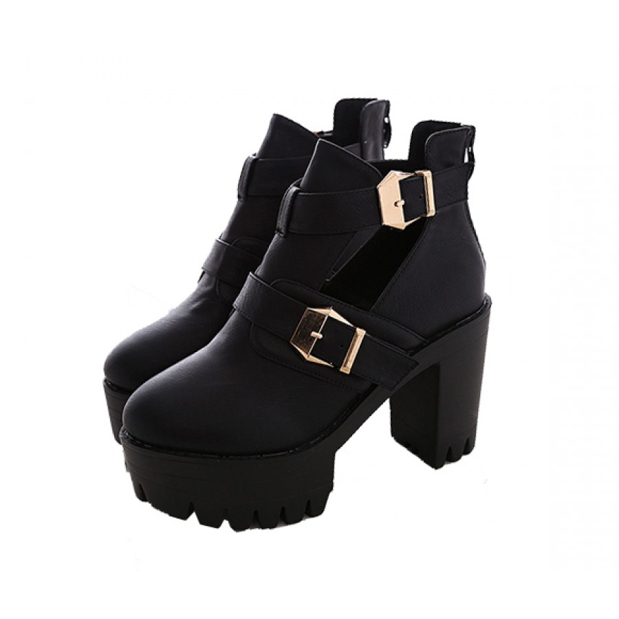 Out high heel buckle boots