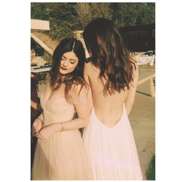 dress champagne dress tulle dress kaylie jenner
