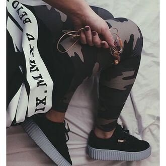 leggings brown khaki camouflage camo pants camo leggings bape bape clothes puma puma sneakers adidas adidas shoes adidas superstars adidas originals gold rose gold shoes black creepers puma creepers
