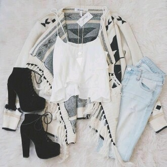 jeans tank top cardigan shoes