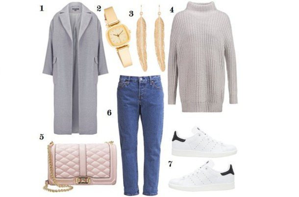 2a08d86162 samieze blogger grey coat mom jeans adidas shoes turtleneck gold watch  feather earrings quilted bag