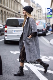 dress,lace,black,gorgeous,fashion,le fashion,blogger,jewels,DrMartens,grey coat,lace dress,black dress,beanie,grey oversized coat,coat,boots,grey,combat boots